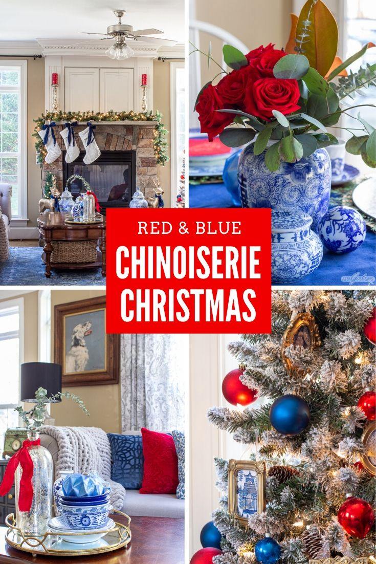 collage with blue and white chinoiserie pottery with red accents added for Christmas