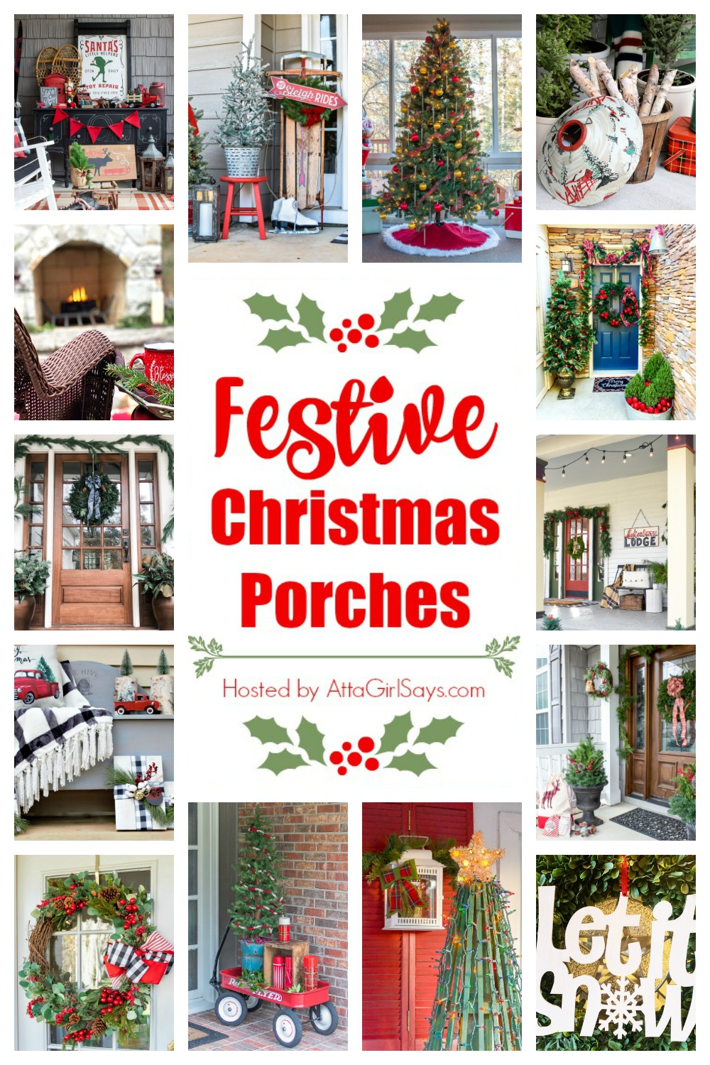 collage photo showing Christmas porches with the title Festive Christmas porches