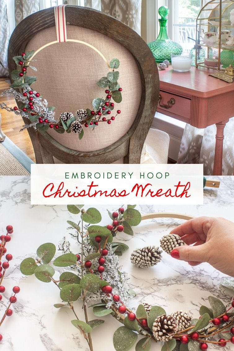 collage photo showing how to make a Christmas embroidery hoop wreath