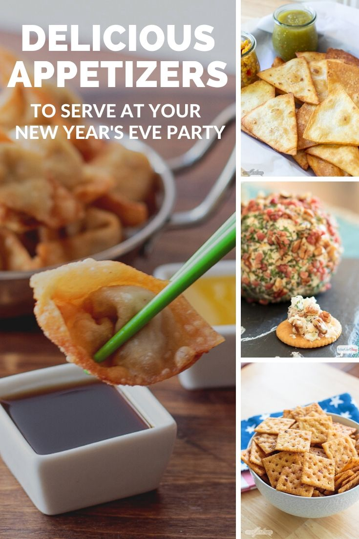 collage showing homemade wontons, tortilla chips, cheese ball and fire crackers for a new years eve party food