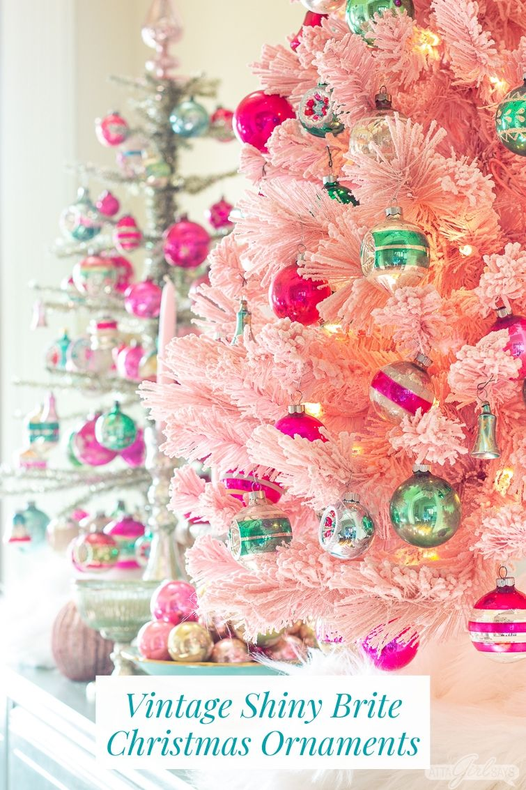 pink flocked Christmas tree with pink and green vintage Shiny Brite onrnaments