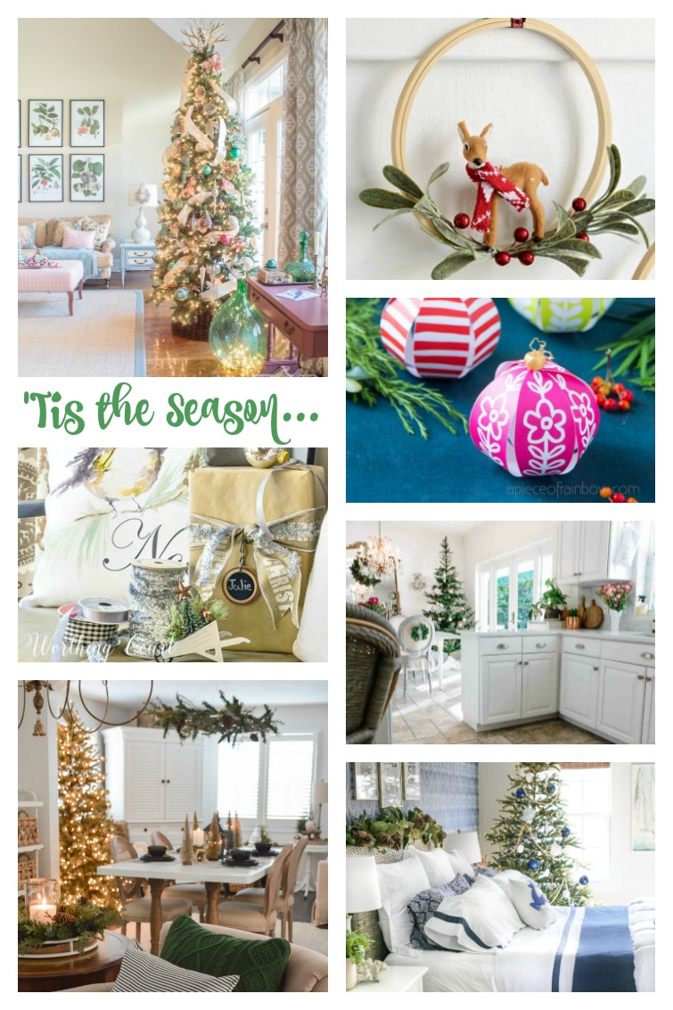 collage photo showing Christmas decorations, crafts and packages