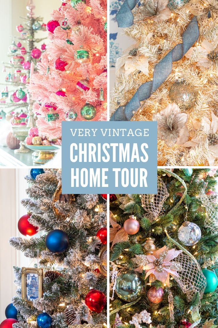 collage showing four different Christmas trees with a text overlay, Christmas Home Tour