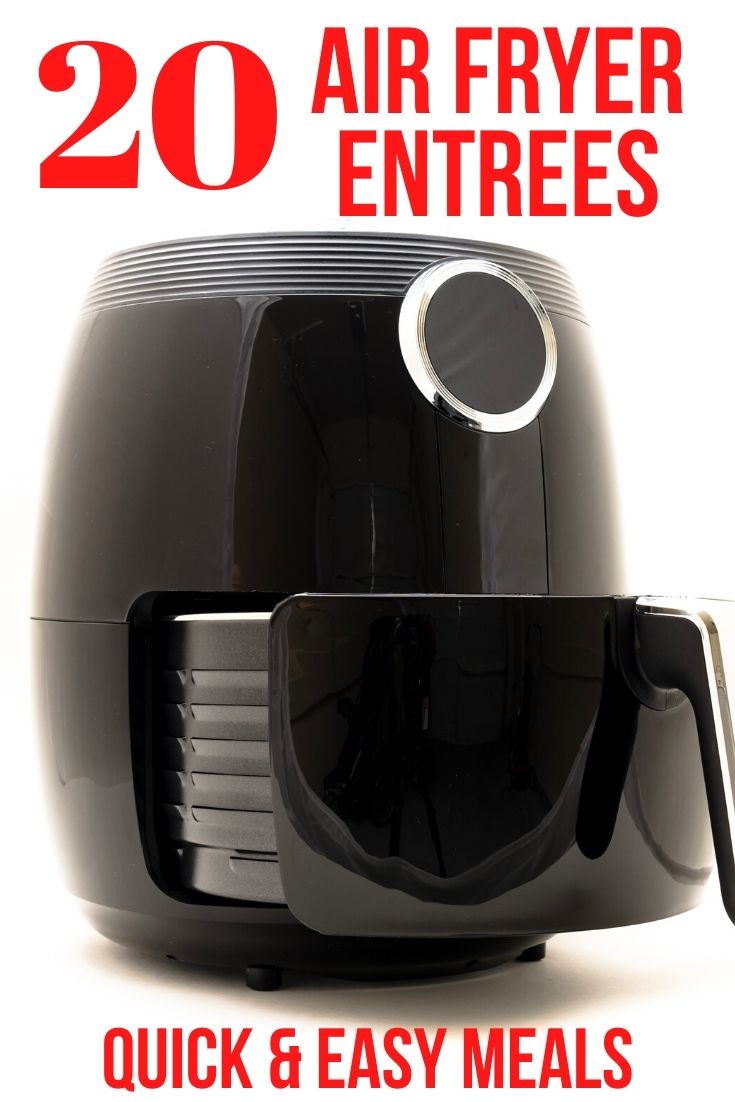 air fryer with a caption 20 Air Fryer Entrees