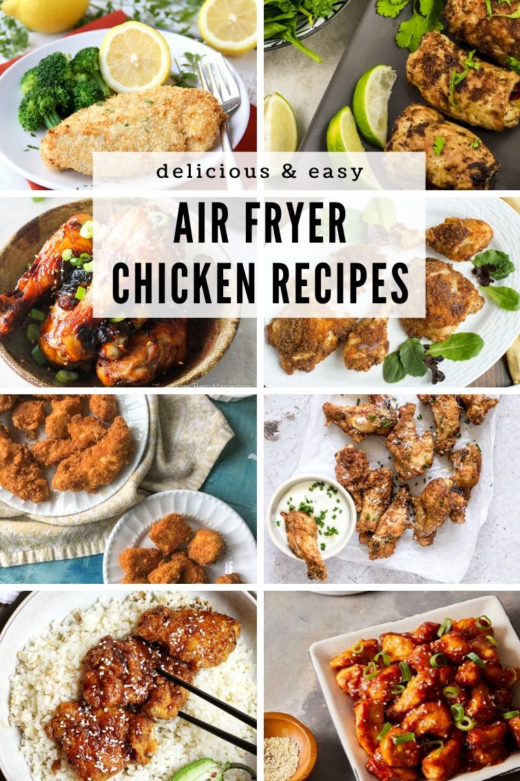 collage of 8 different air fryer chicken recipes