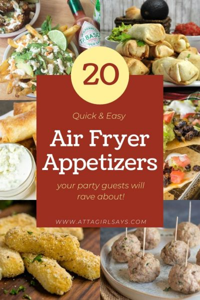 collage of eight appetizers with text overlay Air Fryer Appetizers