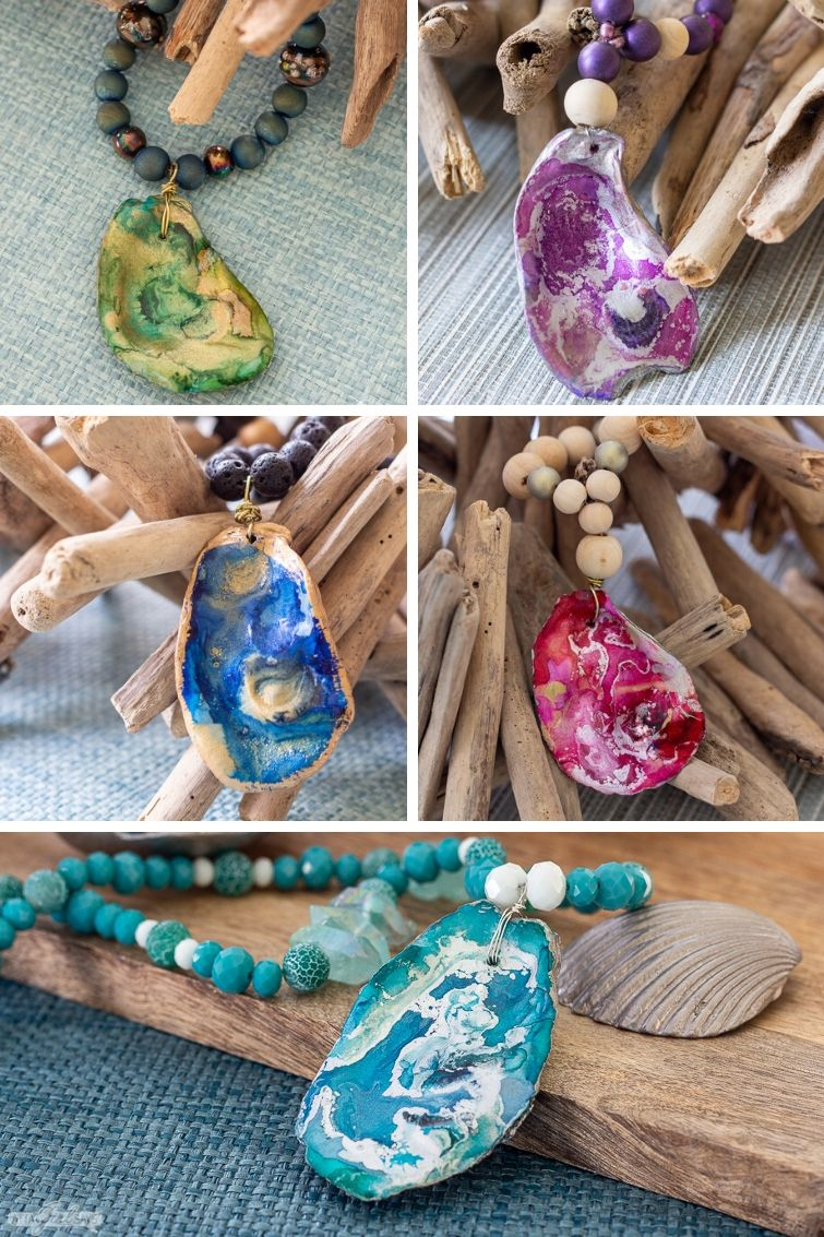 collage showing five different oyster shell pendants on beaded necklaces