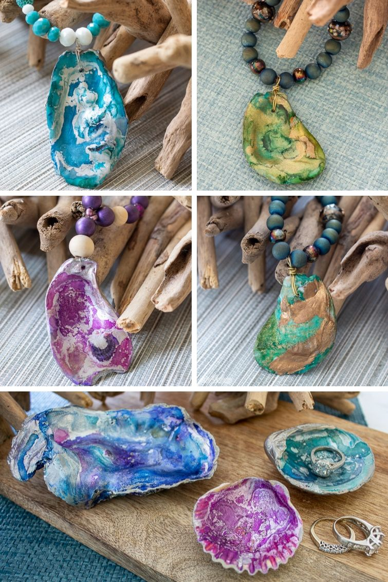 collage showing four different oyster shell pendants on beaded necklaces and oyster shell jewelry dishes