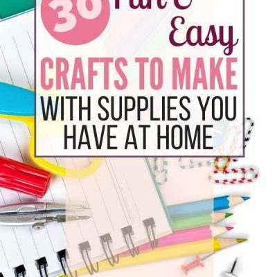 arts and craft supplies on a lined notebook