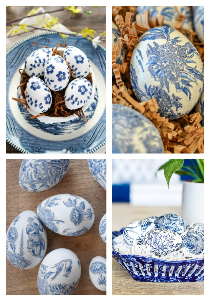 four different types of Chinoiserie Decoupaged Easter Eggs