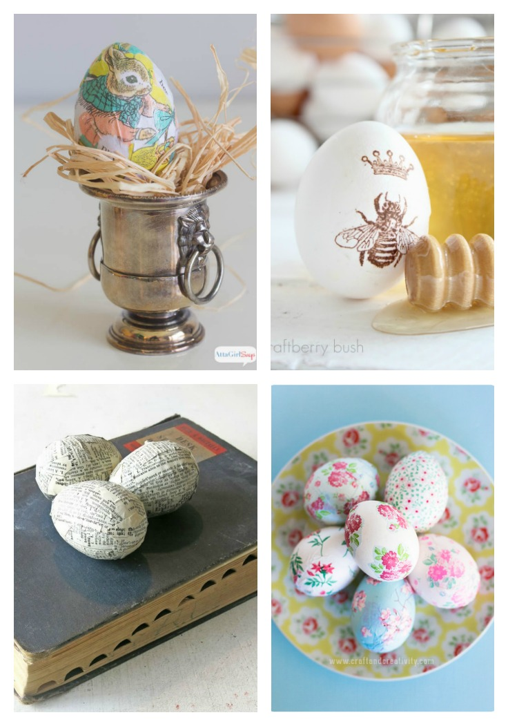 four different ways to make DIY decoupage Easter Eggs
