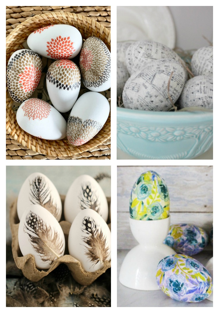 Four different designs of Easter Eggs Made With Decoupage