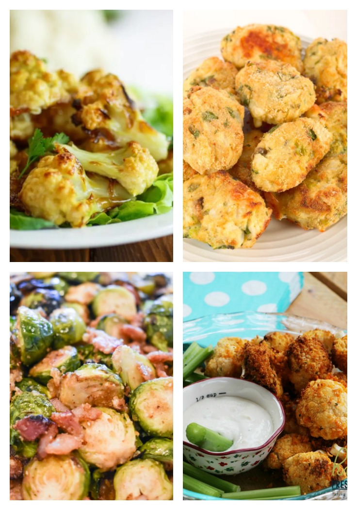 air fryer cauliflower, tater tots and Brussels sprouts