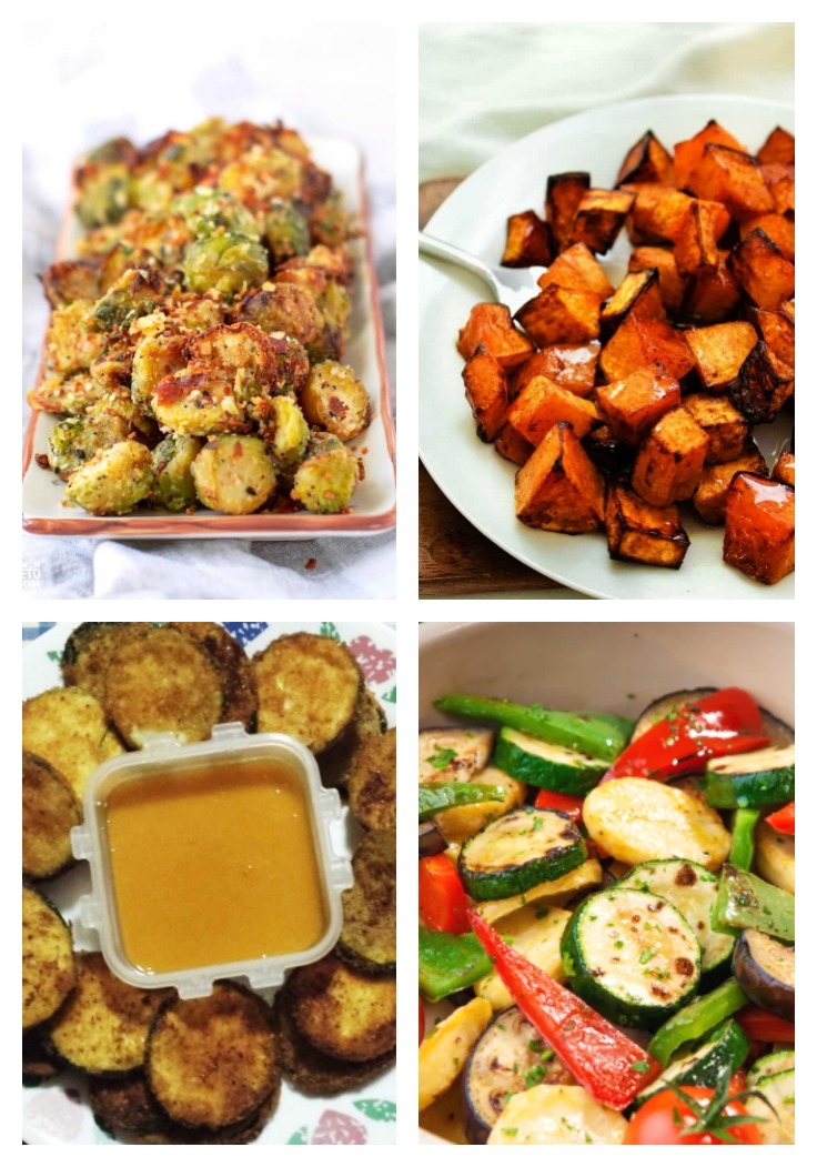 fried Brussels sprouts, zuchinni and other air fryer side dishes