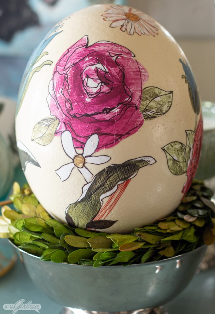 ostrich egg decorated with watercolor flowers