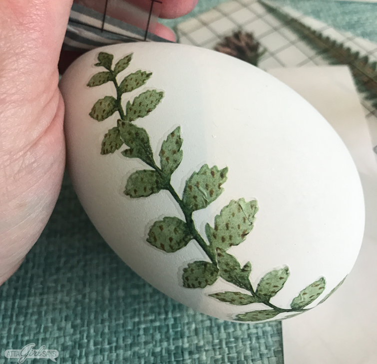 vintage leaf image on an easter egg