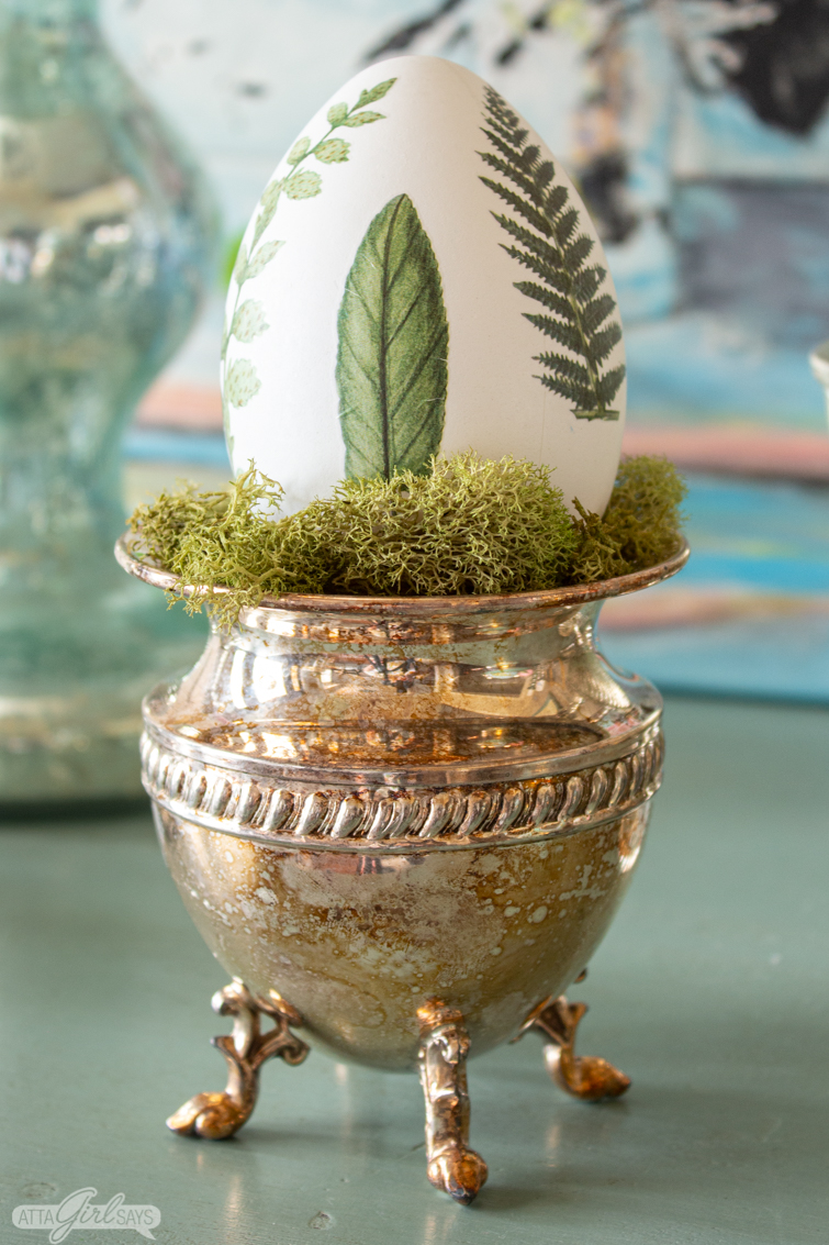 botanical Easter egg in a silver cup with moss