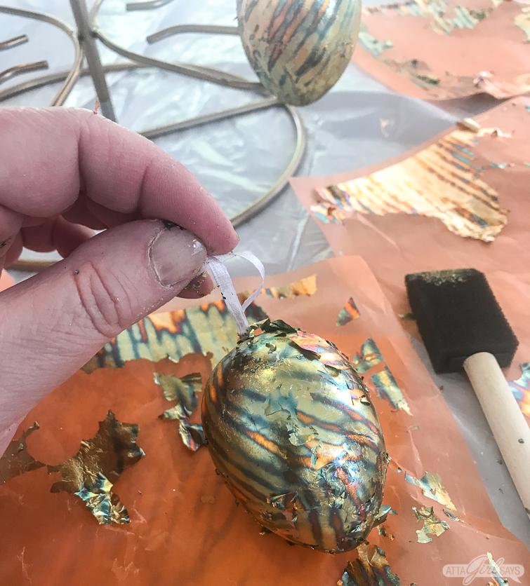 making aged copper leaf Easter eggs