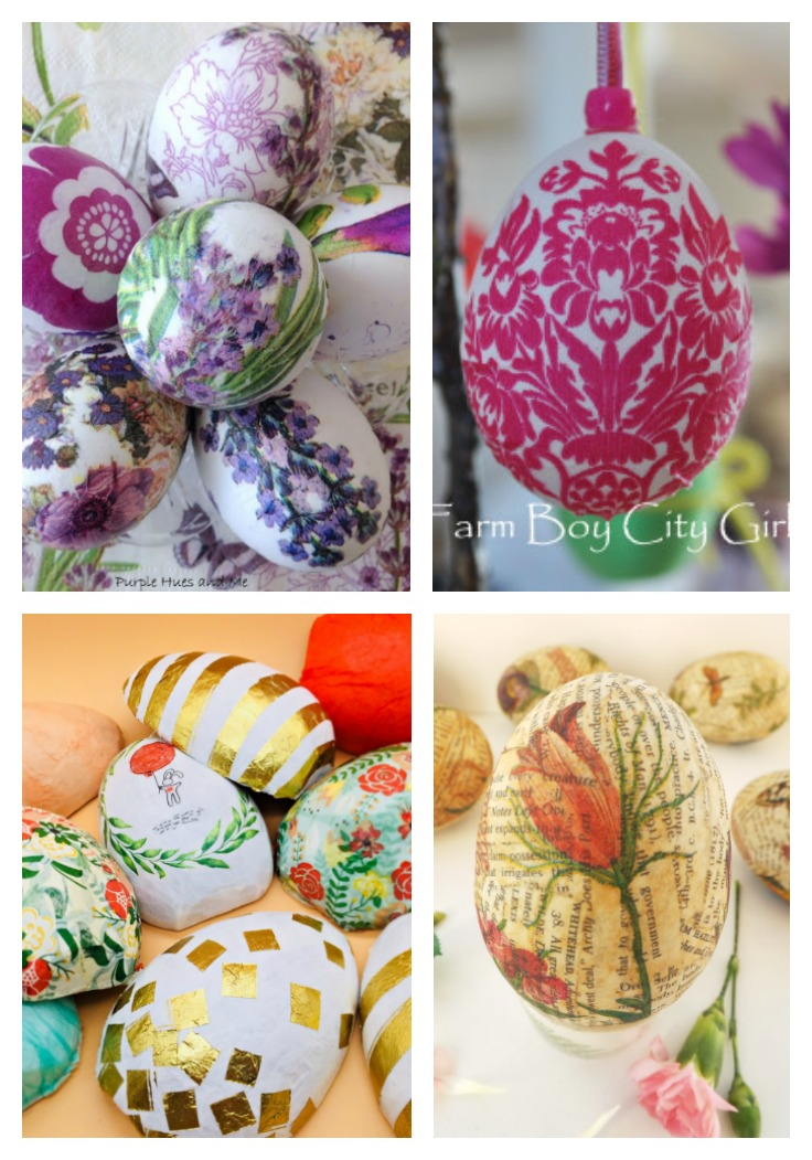 four different ways to diy Easter egg using mod podge
