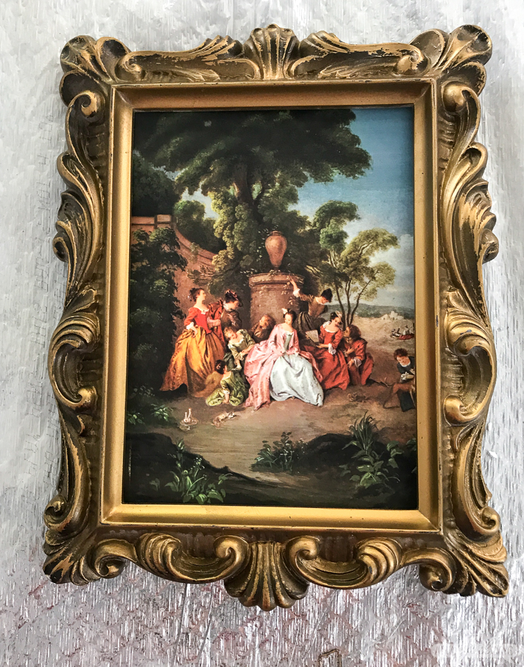 vintage frame with a renaissance style painting print