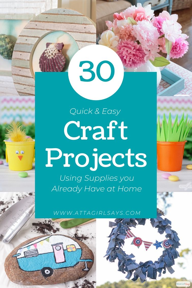 collage showing easy craft projects to make with things you have on hand