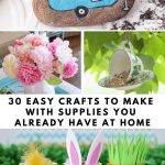 collage showing different crafts you can make using supplies you have at home