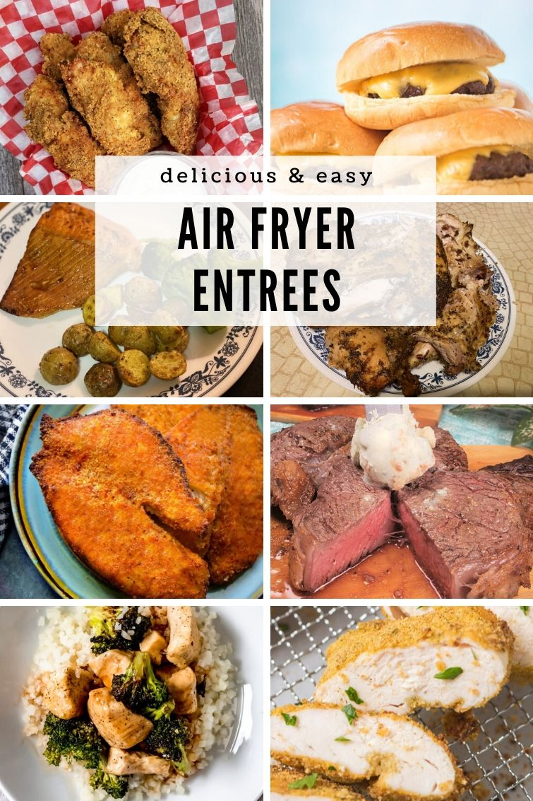 collage of eight different air fryer entrees