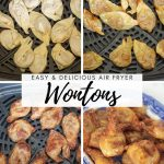 collage showing how to make air fryer wontons in a Ninja Foodi Grill