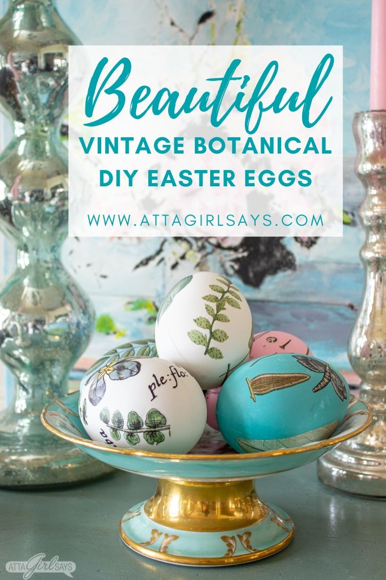 painted botanical Easter eggs decorated with vintage botanical images in a blue compote dish