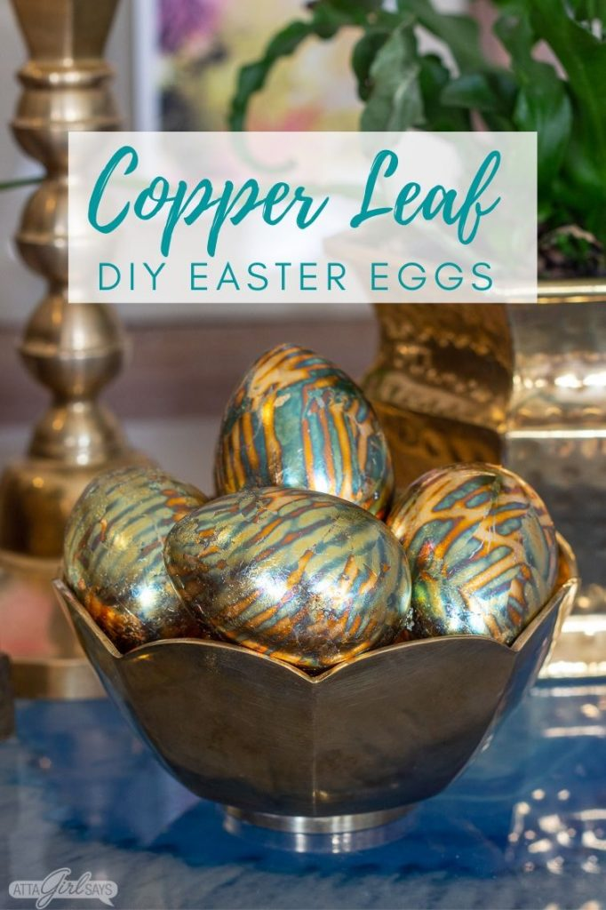 copper leaf Easter eggs in a brass bowl