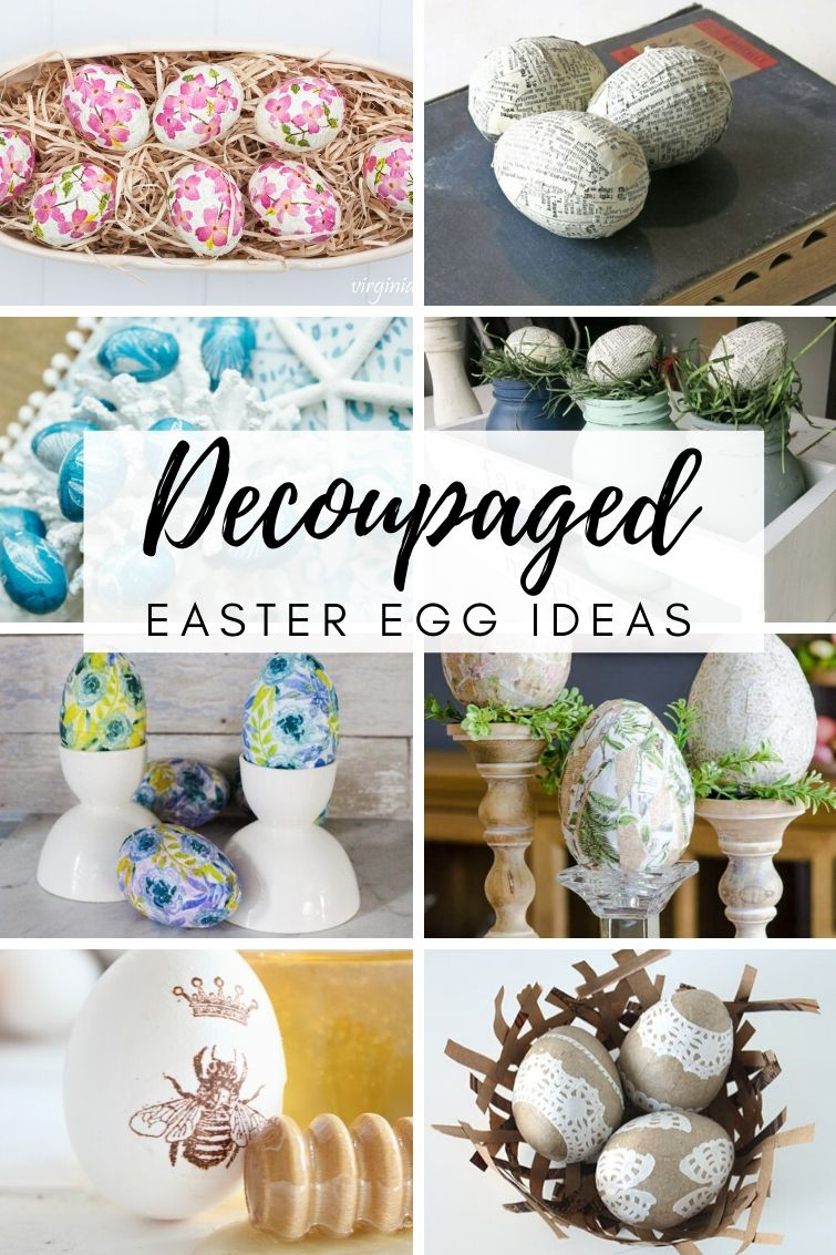 collage showing eight different decoupaged Easter eggs