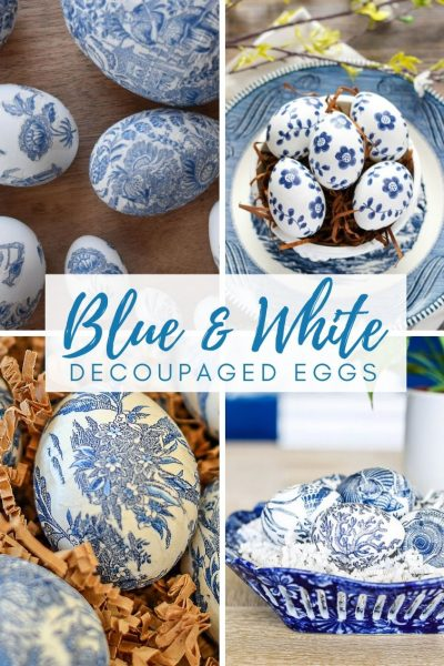 collage of four different blue and white decoupaged Easter eggs made using napkins