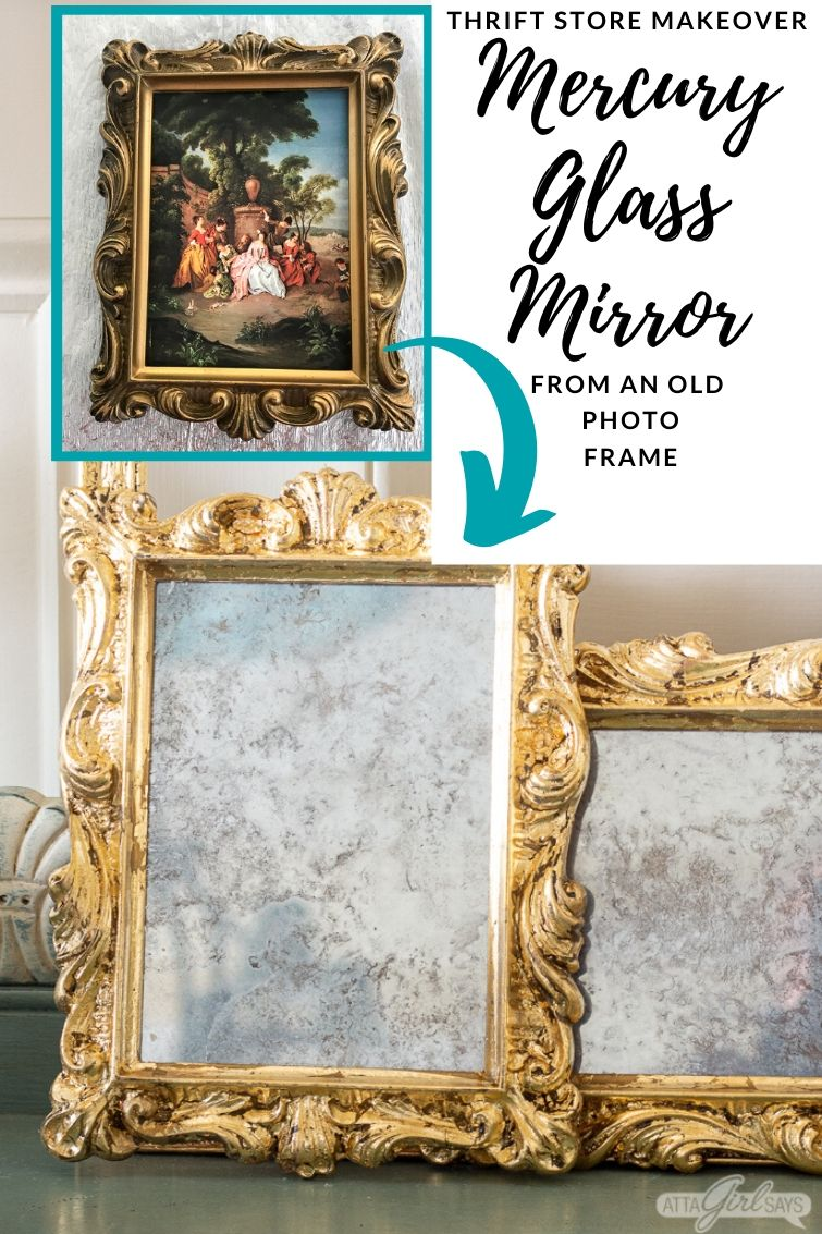 before and after collage showing an old ornate frame transformed into a DIY mercury glass gilded mirror