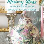 vintage floral ginger jar in front of gilded mercury glass mirrors