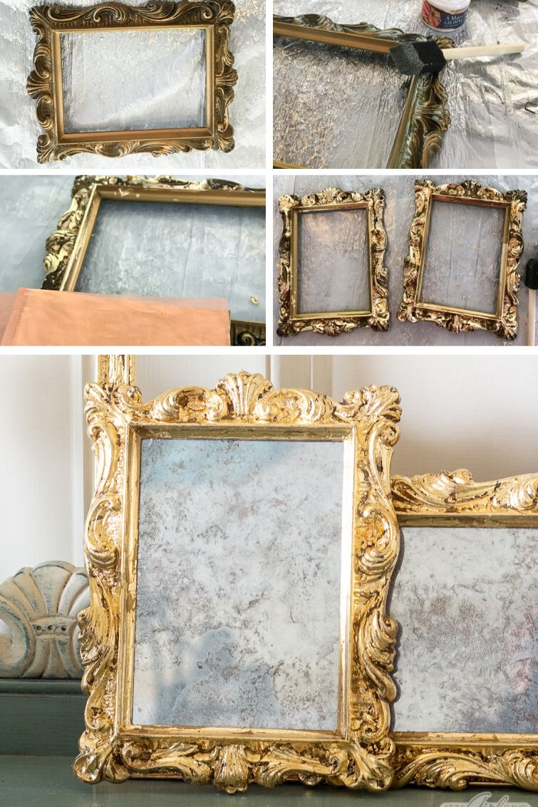 collage showing how to make a DIY mercury glass gilded mirror with gold leaf sheets