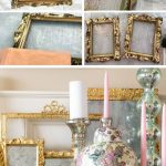step by step before and after collage showing an old ornate frame transformed into a DIY mercury glass gilded mirror
