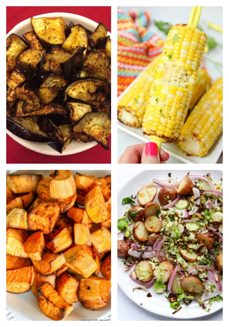 corn on the cob, roasted eggplant and squash and vegetable hash