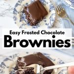 gooey chocolate brownies with homemade chocolate icing on a blue and white plate