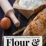 rolling pin, loaf of homemade bread and a bag of flour