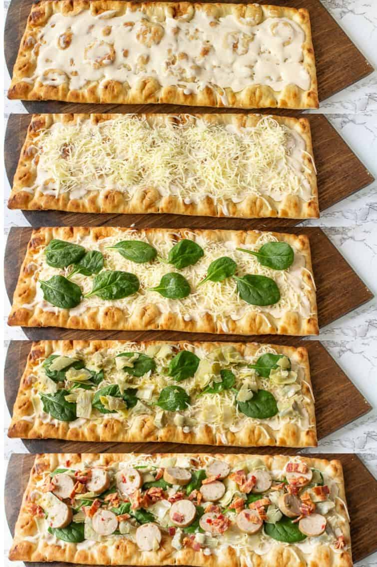 collage photo showing different steps to make a chicken bacon artichoke flatbread pizza