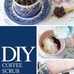 collage showing how to make DIY coffee body scrub with photos of it in a blue and white coffee cup