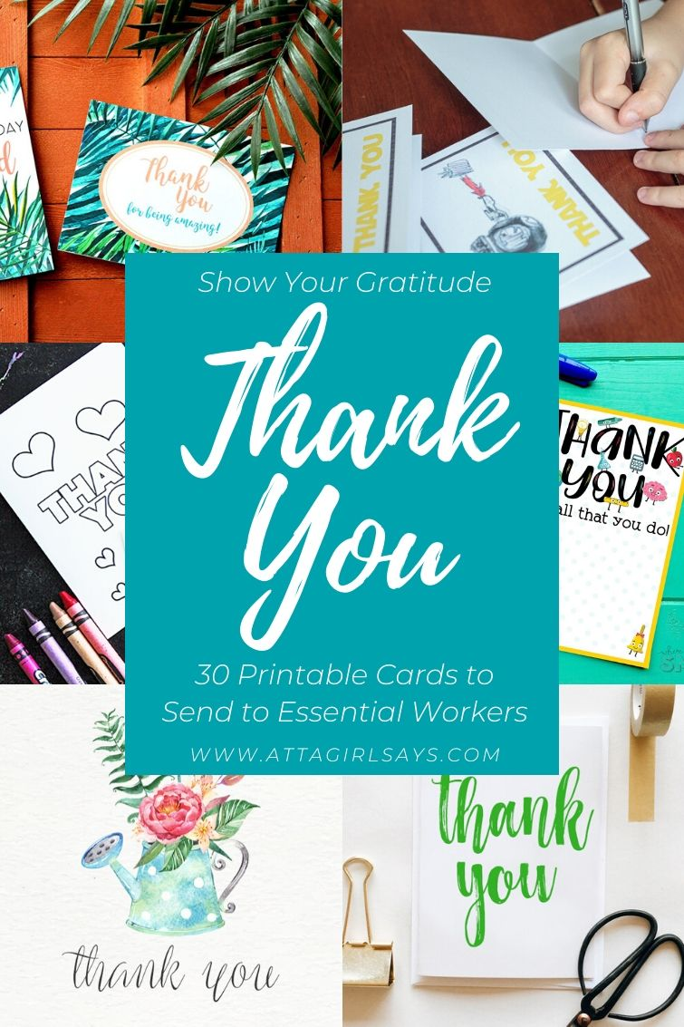 collage showing printable thank you cards for kids and adults