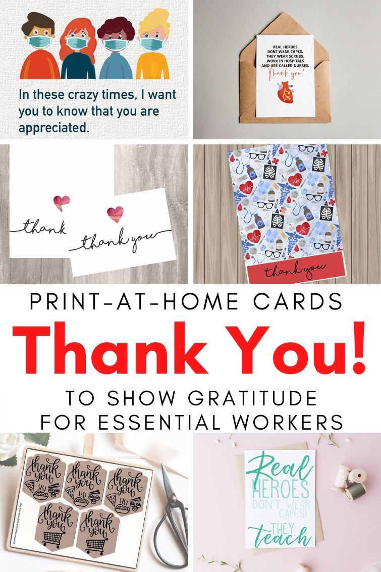 collage showing different printable thank you cards for doctors, nurses and other essential workers during COVID-19