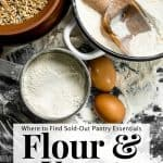flour, eggs and other baking supplies on a countertop