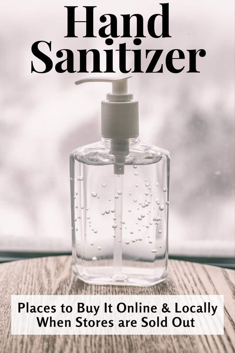 bottle of hand sanitzer with a text overlay