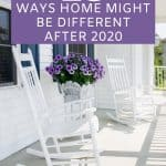 front porch with white rocking chairs and purple flowers in a pot