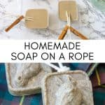 collage image showing how to make melt and pour soap on a rope