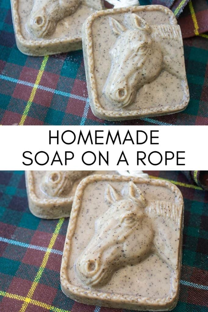 collage photo of horse soap on a rope