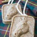 horse soap on a rope on a plaid towel