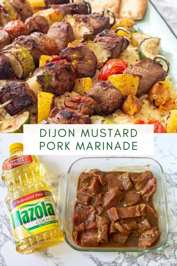 collage image of dijon marinated vegetable and pork kabobs
